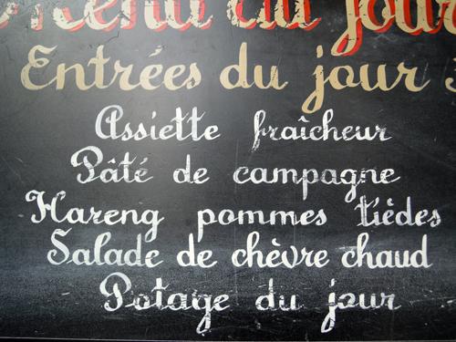 Menú del día en la Rue du Faubourg Saint Antoine