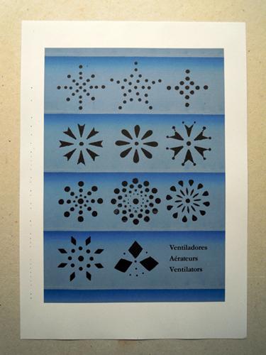 Colección de once ventiladores sobre rejilla virtual